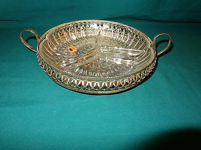 CRESCENT SILVERPLATE DIVIDED GLASS CANDY DISH-3 sectioned: Nice Pre-Owned