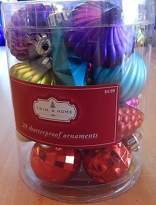Trim A Home Shatterproof Ornaments Set of 20 Multi-Colored