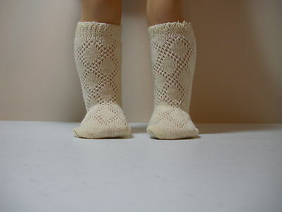 Fits 15 Inch Tiny Tears Doll .... Ivory Knit Diamond Pattern Socks.... S0