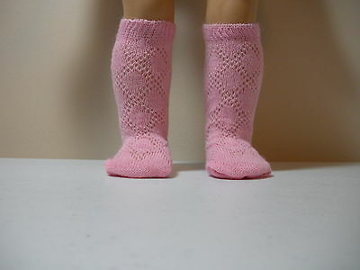 Fits 15 Inch Tiny Tears Doll .... Pink Knit Diamond Pattern Socks.... S0