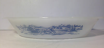 Vintage Currier and Ives Glasbake Pyrex Divided Baking Dish Winter Sleigh Scene