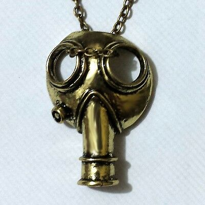 Dr Who The Empty Child Gasmask Brass Pendant Necklace 36 mm x 25 mm, 50cm Chain