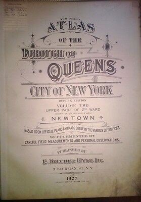 Orig 1927 Belcher Hyde Plat Atlas Map QUEENS NY New York Long Island Title Page