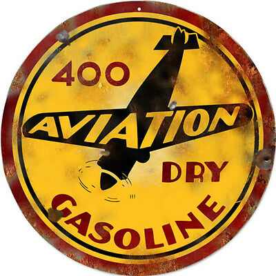 Aviation Dry Gasoline Airplane Motor Oil and Gas Reproduction Metal Sign