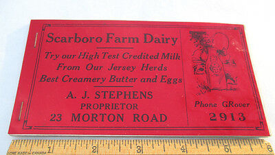 Book of Scarboro Farm Dairy Ink Blotters Milk Butter Eggs Toronto Dairy