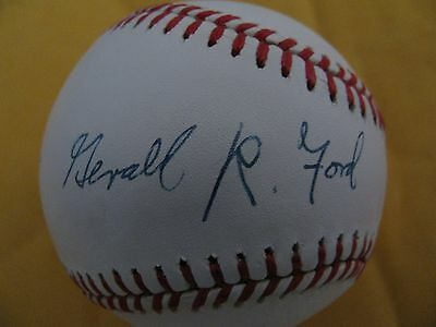 PSA DNA PRESIDENT GERALD R FORD SIGNED AL BASEBALL LOA AUTOGRAPH