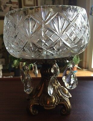 Glass Crystal  Compote Centerpiece Bowl Brass Footed with Cut Crystal Prisms.