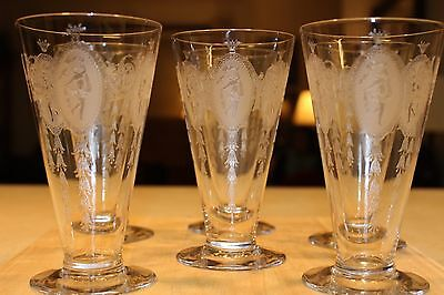"""7 Antique 'Tiffin' Needle Etched Crystal Water Glasses, 'Classic' 6"""" Mint 1913"""