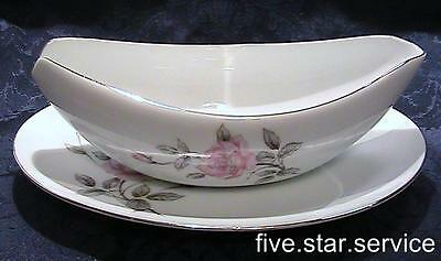 SPRING ROSE/s GARLAND Three Castle GRAVY BOAT w RELISH TRAY vintage china pink
