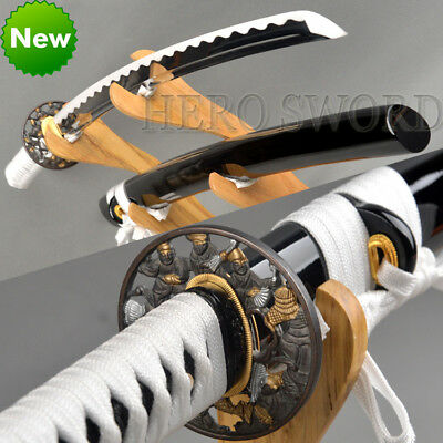 Handmade Japanese Samurai Katana General Tsuba Sword 1060 Steel Full Tang Sharp