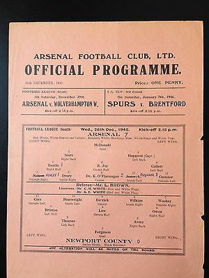 ARSENAL v NEWPORT  COUNTY, 26th December 1946 - WAR-TIME LEAGUE(SOUTH)
