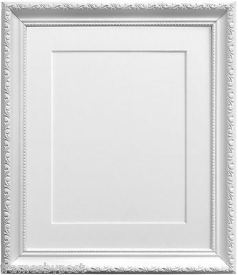 Shabby Chic White Picture Photo Frames with a selection of coloured mounts