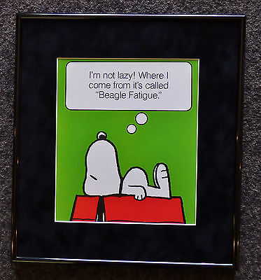 Peanuts Snoopy Beatle Fatigue Vintage Framed Poster Print Charles Schulz