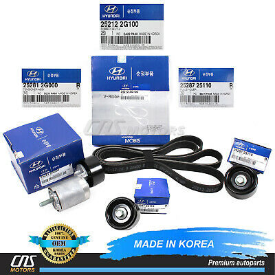 V-Ribbed Belt A/C Belt Tensioner Kit for 10-12 Hyundai Santa Fe Kia Sorento 2.4L