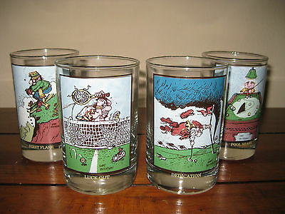 Gary Patterson Arby's collectors Series 1982 Set of Four Glasses Pool Shark Luck