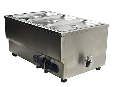 "Bain Marie 3 Pan Electric Food Warmer Restaurant Equipment Stainless Steel 6""Pan"