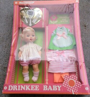 vintage horsman dolls very rare drinkee baby w/ complete layette brand new RARE