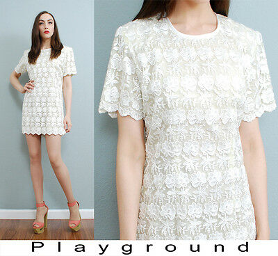 80s vtg ivory embroidered floral lace scalloped romantic babydoll mini dress m