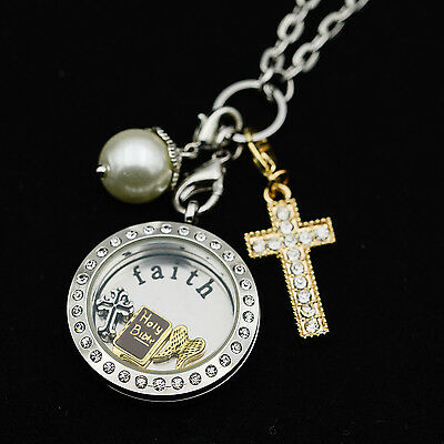 Large Silver Living Floating Charm Locket Rolo Chain Crystal Dangle Faith Plate