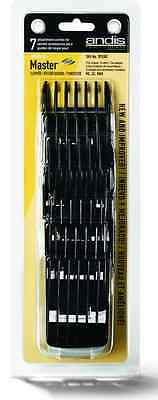 Andis 7 Pack Master ML Comb Set Clipper Guards Black Plastic Clip On #01380 NEW