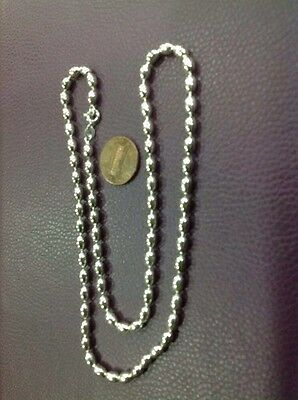 New Oval Bead 100% Solid 925 Sterling Silver Necklace Chain 22 Gms And 20""