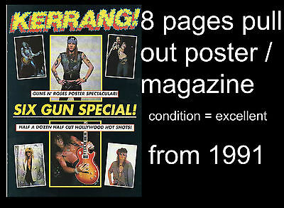 Guns N Roses Six Gun Special 8 pages magazine pull out issued in England 1991