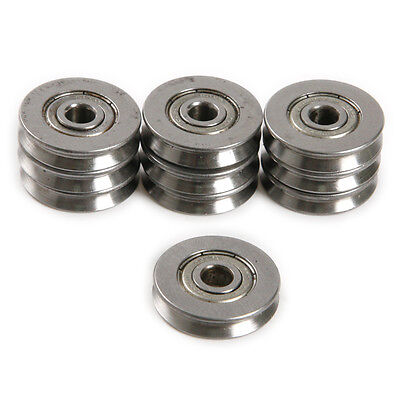 10pcs 5*22*5MM Metal 1.5mm Deep V Groove Guide Pulley Rail Ball Bearings Wheel