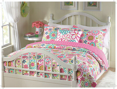 Mariah Pink Blue Floral 3-piece Quilt Set for Girls