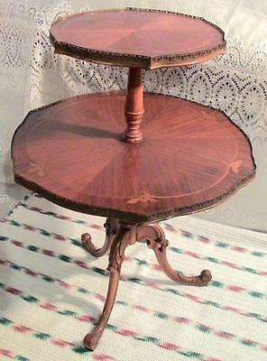 Antique Mahogany Wood Two Tier Inlaid Occasional Lamp Table French Brass Banded