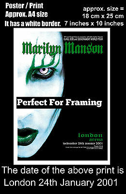 Marilyn Manson live concert London Arena 24th January 2001 A4 size poster print