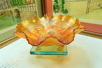 """FENTON STAG & HOLLY MARIGOLD CARNIVAL GLASS 10"""" BALL FOOTED RUFFLED BOWL 1912"""