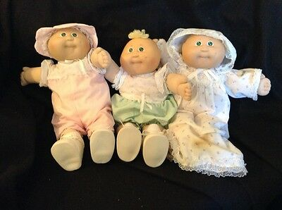 Lot 3 Vintage Cabbage Patch Kids Doll Premie Baby Outfit Hat Original CPK