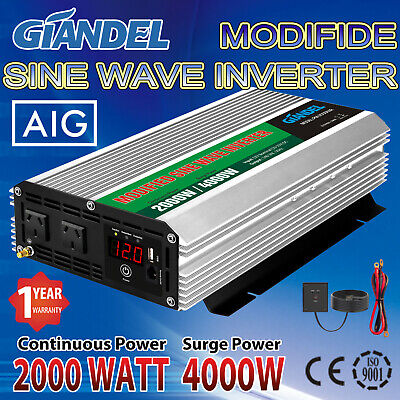 Large shell Power Inverter 2000W/4000W Max12V-240V+Remote Control Of4.5M Cable