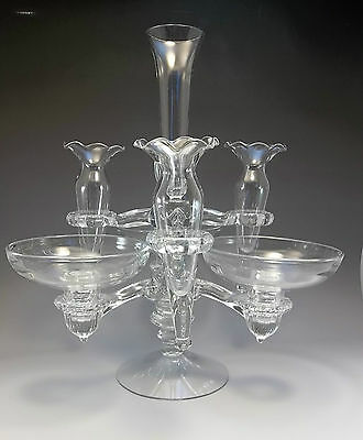 Gorgeous Cambridge Arms Clear Glass Bud Vase 1940's Epergne Bowls Candle Holder