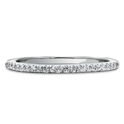 BERRICLE Sterling Silver Round CZ Half Eternity Band Ring 0.105 Carat