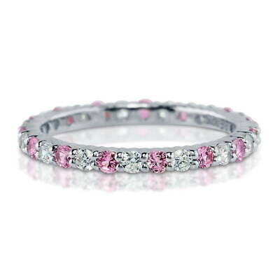 BERRICLE Sterling Silver Round Pink CZ Anniversary Eternity Band Ring 0.84 Carat