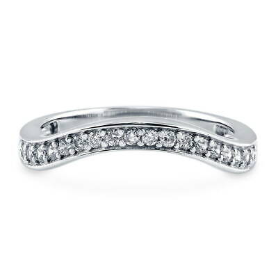 BERRICLE Sterling Silver Cubic Zirconia Wedding Curved Half Eternity Band Ring