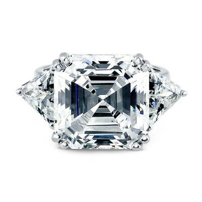 BERRICLE Sterling Silver 16.16 Carat Asscher Cut CZ 3-Stone Engagement Ring