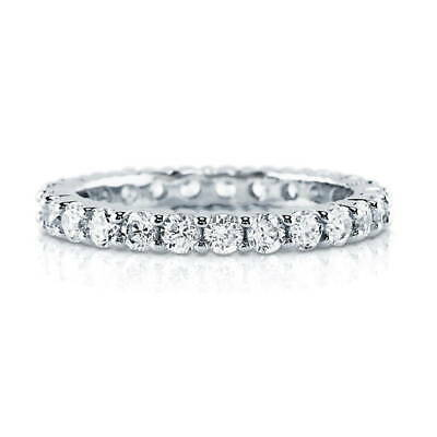 BERRICLE Sterling Silver Cubic Zirconia Anniversary Wedding Eternity Band Ring
