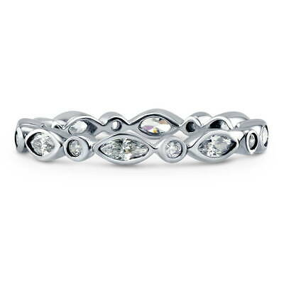 BERRICLE Sterling Silver Cubic Zirconia CZ Bubble Wedding Eternity Band Ring