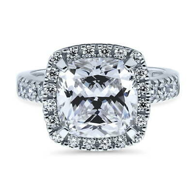 BERRICLE Sterling Silver Cushion Cut CZ Halo Engagement Ring 4.11 Carat