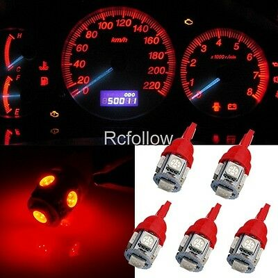 1 2 5 10 20pcs T10 5050 SMD 5LED Wedge Car Red Dashboard Light Bulb 194 168 W5W