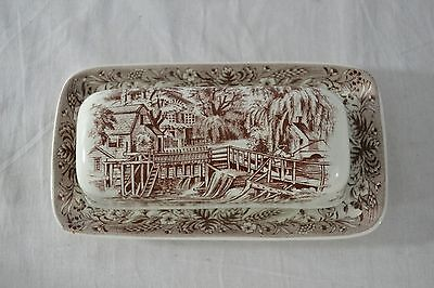 Vintage Currier & Ives Brown Transferware Butter Dish Mill Dam Pattern Heritage