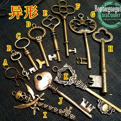 11 Pc Antique Vtg old look skeleton key pendant heart bow lock steampunk jewelry