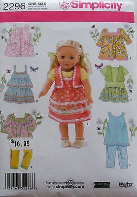 """Simplicity 2296  18"""" Doll Clothes Pattern Fits American Girl Cute Summer Styles"""