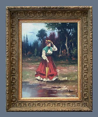 """Lady In A Garden"" - Lovely Original Antique Oil Painting On Canvas & Signed"