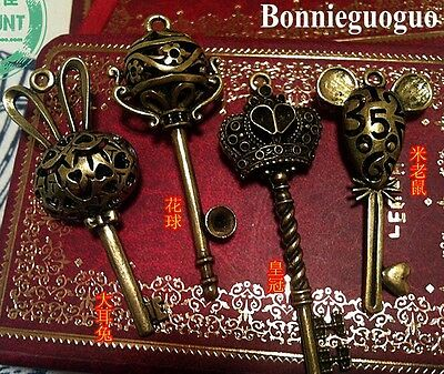 NEW!! 4 Pcs big vintage antique skeleton keys pendant heart Wedding decorations