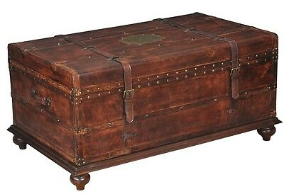 "43"" W fine Italian distressed leather Trunk Coffee table wood Iron Brass details"