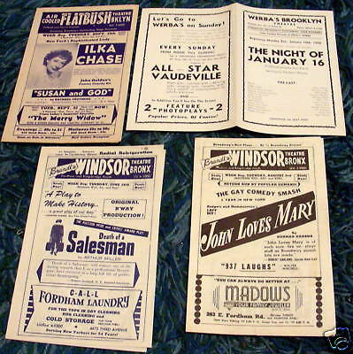 THEATER FLYERS 1930-50s BRONX, BROOKLYN New York