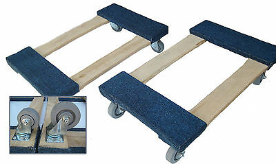 "Heavy Duty Carpeted Moving Furniture BLUE Dolly 18"" x 30"" -3"" or 4"" casters"